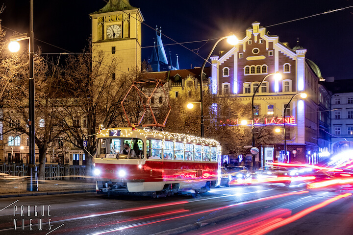 christmas tram prague
